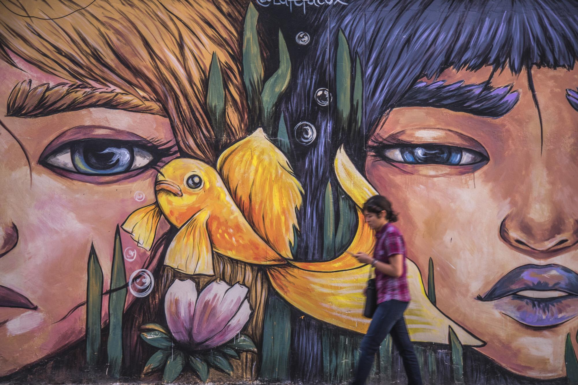Peru, Lima, Miraflores Viertel, Graffiti, Street Design, Boutique,  Street Art, Gesichter, Portrait, Strasseszene, Südamerika  Engl.: Peru, Lima, Miraflores Viertel, Graffiti, Street Design, Boutique,  Street Art, Gesichter, Portrait, Strasseszene, Südamerika