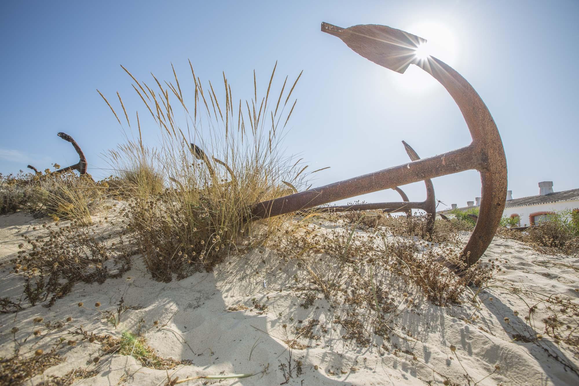 Portugal, Algarve, Tavira, Praia do Barril Ankerfriedhof der ehemaligen Thunfischfalle