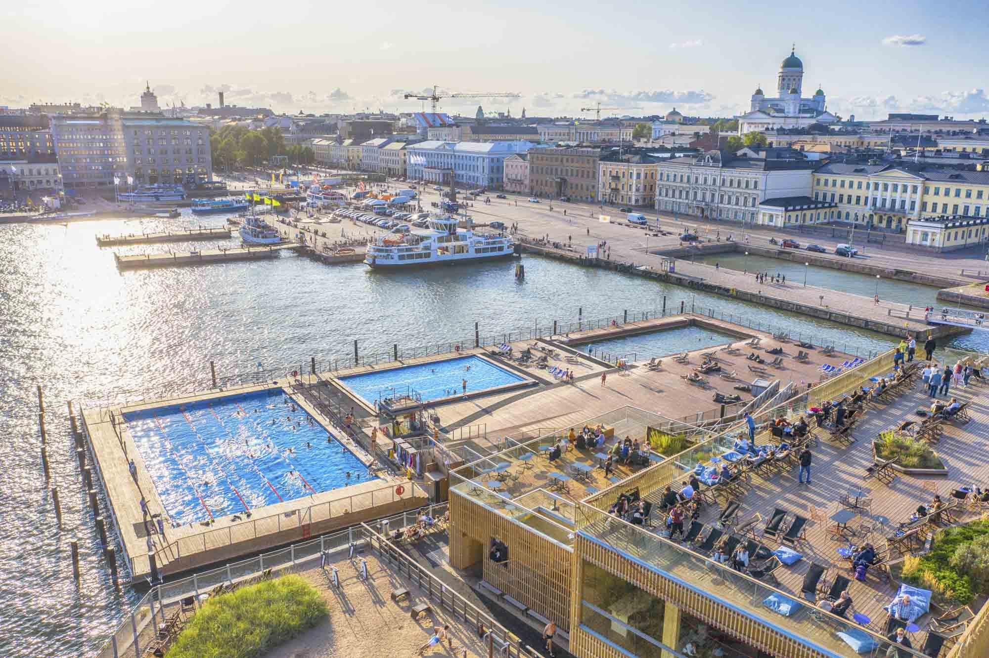 Finnland, Helsinki, Allas Sea Pool, Stadtansciht, Luftaufnahme